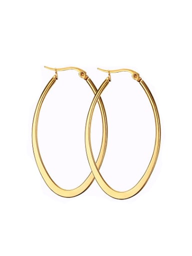 Fashionable Gold Plated Letter U Shaped Titanium Drop Earrings