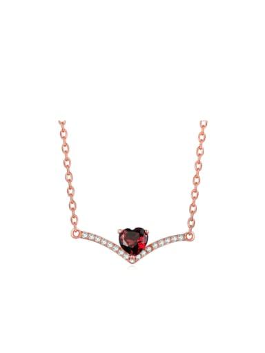 Heart-shape Red Garnet Simple Women Clavicle Necklace
