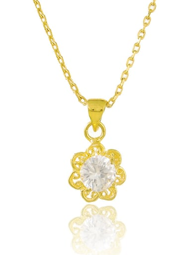 Fashionable 24K Gold Plated Flower Shaped Zircon Necklace