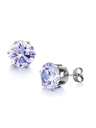 Simple Tiny Purple Zircon Titanium Stud Earrings