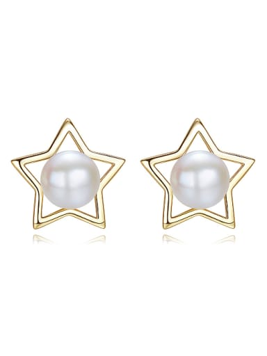 Fashion 925 Silver Freshwater Pearl Hollow Star Stud Earrings
