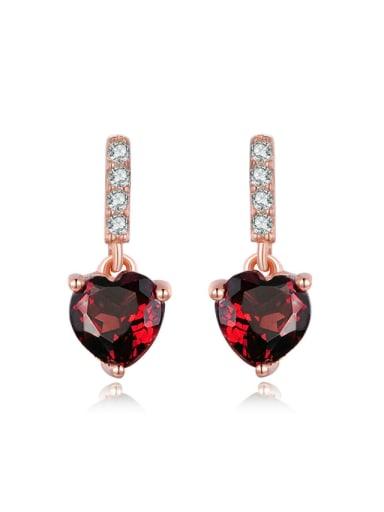 Heart-shape Drop Earrings with Red Garnet and Zircons