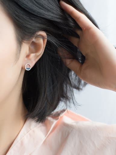 Creative Round Shaped Glue S925 Silver Stud Earrings