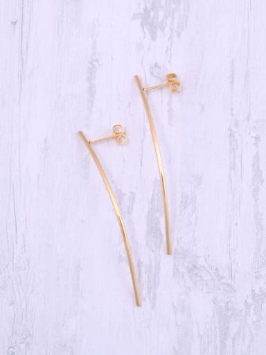 Titanium With Gold Plated Simplistic Smooth Fringe Threader Earrings