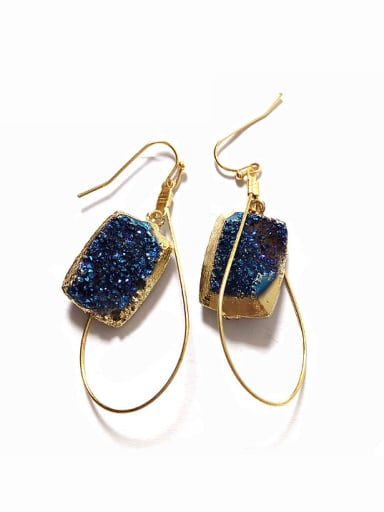Fashion Gold Plated Natural Blue Crystal Earrings
