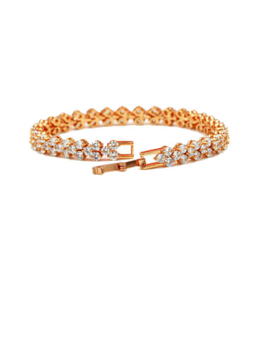 Copper With Cubic Zirconia  Simplistic Round Bracelets
