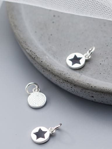 925 Sterling Silver With Platinum Plated Simplistic Star Charms