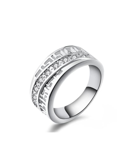 Micro Pave Zircons Silver Plated Women Ring