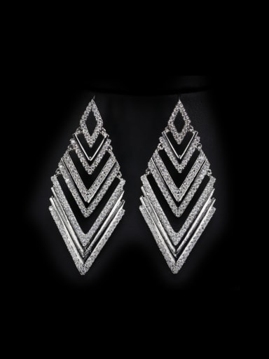 Western Diamond Shaped Zircons drop earring