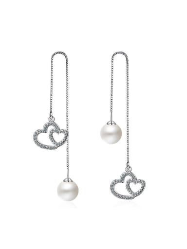 Fashion Imitation Pearl Zirconias Heart Line Earrings