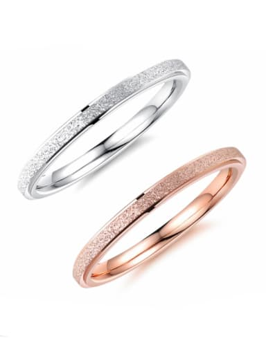 Stainless Steel With Rose Gold Plated Simplistic frosted Round Band Rings