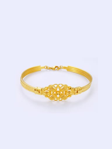 Copper Alloy 23K Gold Plated Classical Flower Bracelet
