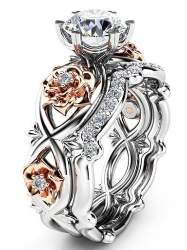 Double Color Design Flower Shaped Zircon Ring Set