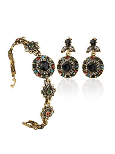 Classical Colorful Resin stones White Crystals Alloy Two Pieces Jewelry Set