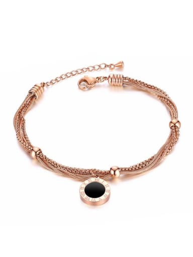 Stainless Steel With Rose Gold Plated Trendy Round Rome number Bracelets