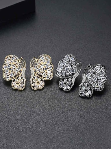 Copper With Cubic Zirconia Exaggerated Butterfly Party Stud Earrings
