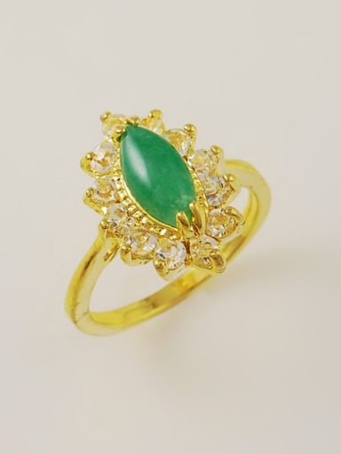 High Quality Green Oval Shaped Stone Gold Plated Ring