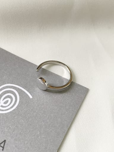 Sterling Silver geometric round bean free size ring