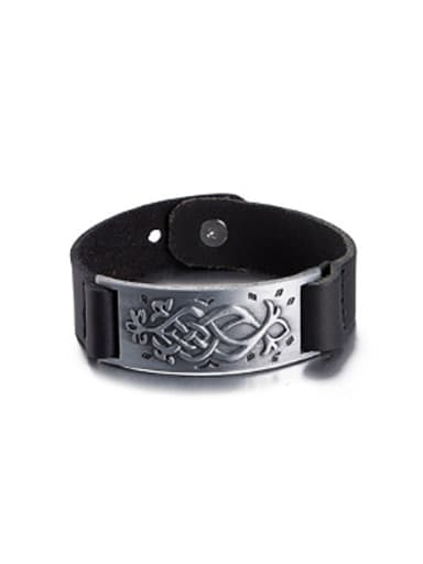 Retro style Black Artificial Leather Bracelet