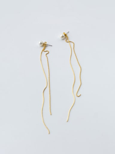 S925 silver  sweet shell pearl line threader earring