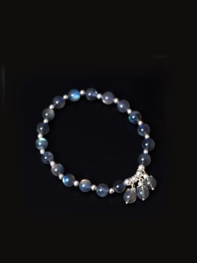 Natural Moonlight Stone Silver Bracelet
