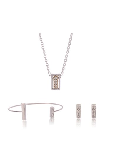 Alloy White Gold Plated Simple style Rhinestones Three Pieces Jewelry Set