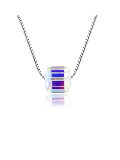 925 Sterling Silver With Platinum Plated Simplistic Square Necklaces