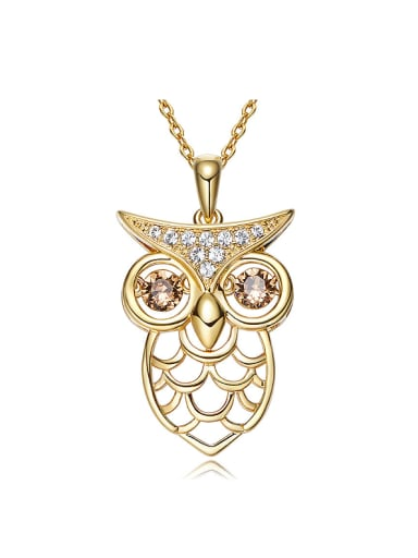 Personalized Cubic Rotational Swarovski Crystals Hollow Owl Copper Necklace