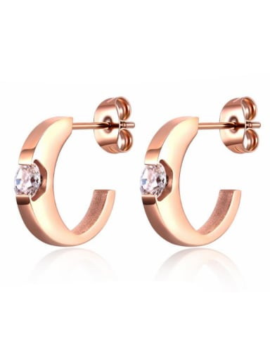 Stainless Steel With Rose Gold Plated Delicate Geometric Stud Earrings