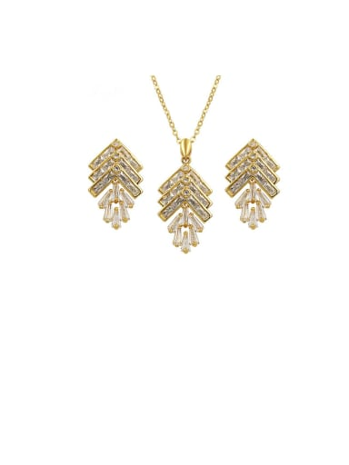 Copper With  Cubic Zirconia Delicate Irregular  Earrings And Necklaces 2 Piece Jewelry Set