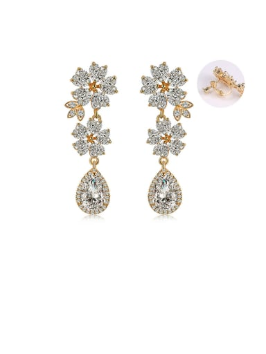 Copper With Cubic Zirconia Luxury Flower Cluster Earrings