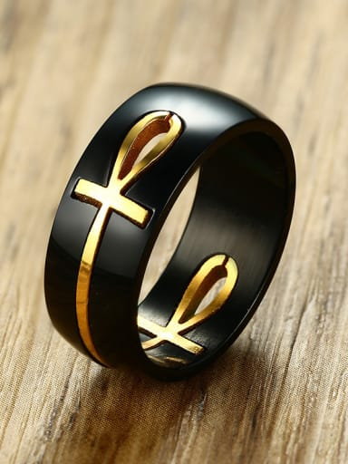 Stainless Steel With Gun Plated Personality Cross Band Rings