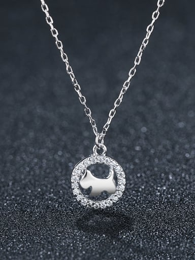 925 Sterling Silver With Platinum Plated Cute Hollow Round  Dog Necklaces