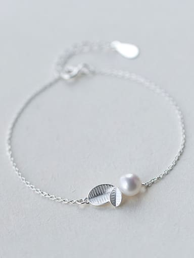 Fresh Adjustable Length Leaf Shaped Artificial Pearl Bracelet