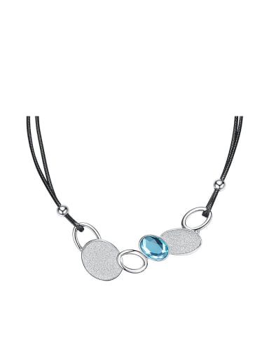 Fashion Swarovski Crystal Black Leather Necklace