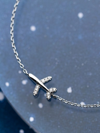 925 Sterling Silver With Platinum Plated Personality plane Bracelets