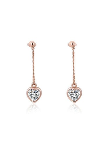 Trendy Heart Shaped AAA Zircon Drop Earrings
