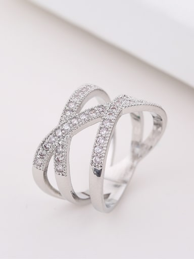 Fashion Double Cross Curved Cubic Zirconias Copper Ring
