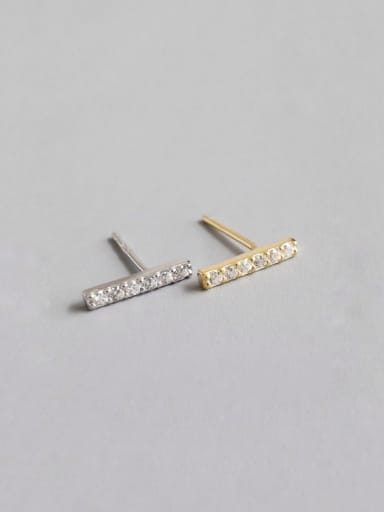 925 Sterling Silver With Platinum Plated Simplistic Square single row Stud Earrings