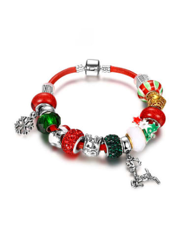 Charming Deer Shaped Red Beaded Bracelet
