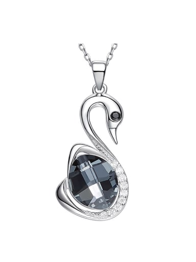 Fashion Little Swan Oval Swarovski Crystal 925 Silver Pendant