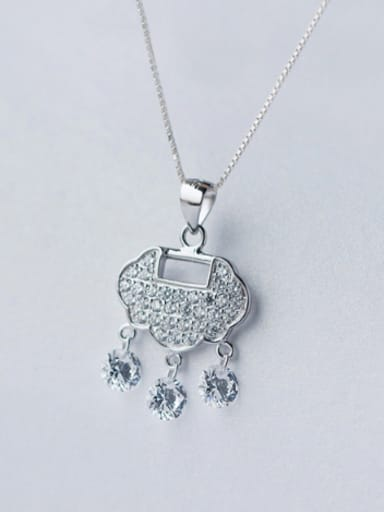 S925 Silver Retro Locket Zircon Sweater Chain