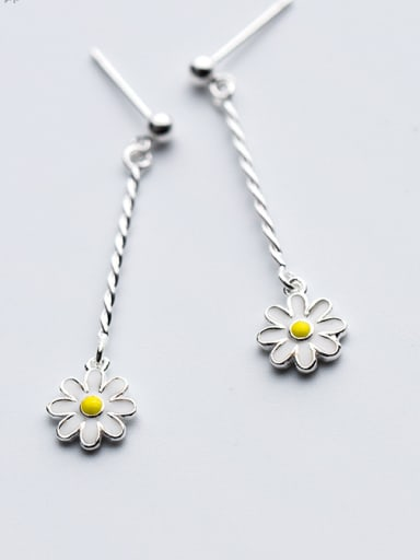 925 Sterling Silver With Silver Plated Cute Flower Drop Earrings