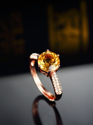 Rose Gold Plated Citrine Zircon Engagement Ring