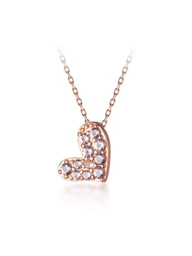 925 Sterling Silver With Rose Gold Plated Cute Heart Necklaces