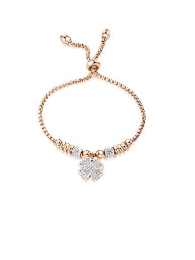 Stainless Steel With Cubic Zirconia Simplistic Flower Adjustable Bracelets