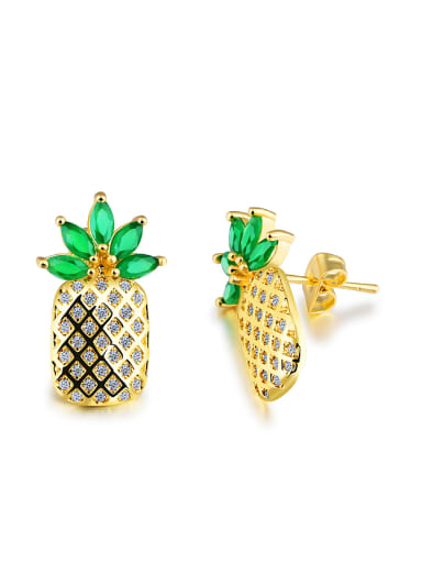Creative Personalized Pineapple Zircon Stud Earrings