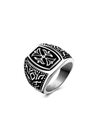 Punk Style Geometric Shaped Flower Pattern Titanium Ring