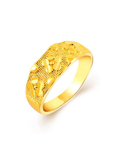 Women Luxury Flower Pattern Gold Plated Copper Ring