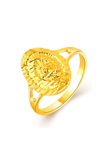 Retro 24K Gold Plated Oval Shaped Copper Ring